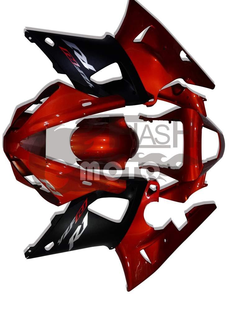 FlashMoto yamaha ヤマハ YZF-1000 R1 2000 2001用フェアリング 塗装済 オートバイ用射出成型ABS樹脂ボディワークのフェアリングキットセット (レッド,ブラック)   B07MKCNSYX