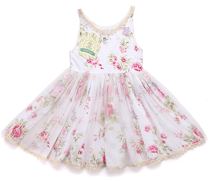 fc11c4a445 Flofallzique Baby Girls Dress Vintage Flower Princess Dress Lace Hem Tulle Toddler  Clothes(3