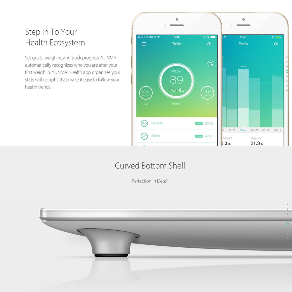 Docooler yunmai Premium versión Smart Bluetooth Báscula con Grasa Corporal Digital Scale Composición Monitor BT4.0 con Pantalla Extra Free Aplicación para ...