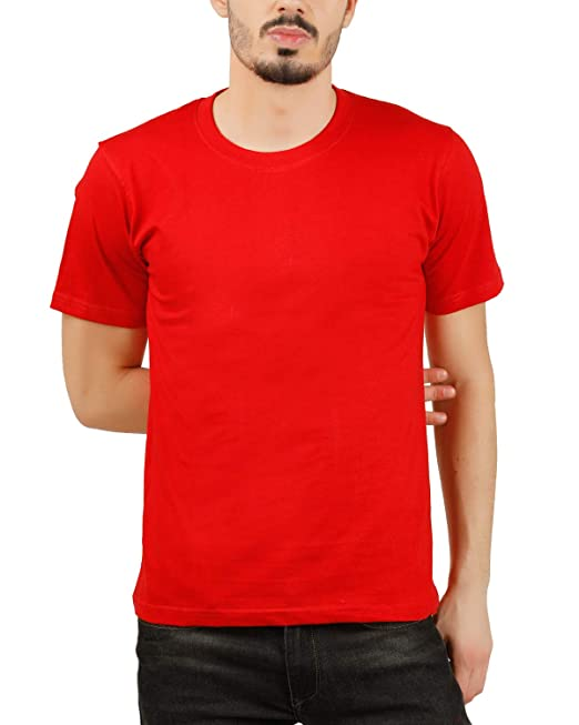 8bff7b3e9 Moonfy Men's Red Cotton Round Neck Solid Plain Regular Fit Half Sleeve T- Shirt: Amazon.in: Clothing & Accessories