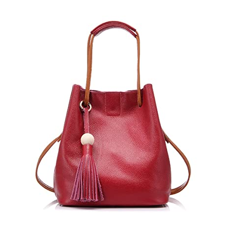 f9f8c3422b3d Drawstring Bucket Bag Women Genuine Leather H Bag Female Shoulder Crossbody  Bag with Tassel Ladies Tote Bag Black Red  Amazon.ca  Luggage   Bags