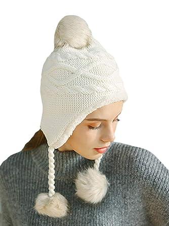 dc926bfd00ec4 DELEY Unisex Niños Niñas Sombreros de Invierno Mujeres Gorro de Lana Orejera  Forro Polar Beanie Cap  Amazon.es  Ropa y accesorios