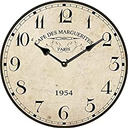 ohuu retro cafe des marguerites antique interior decoration bedroom fashion quartz wall clock 11,8 ins for Coffee Shop, Kitchen, Bedroom, Sitting Room, Dining-Room, etc (820137)
