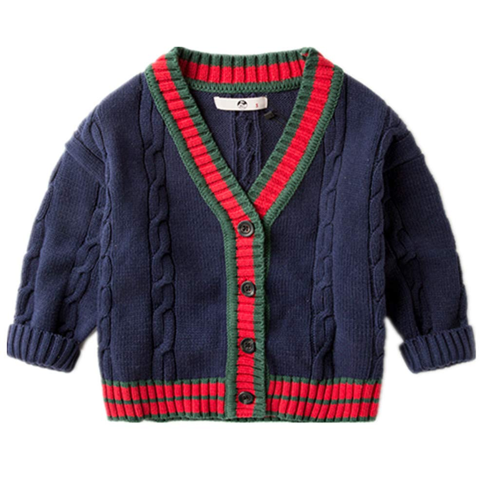 LJYH Autumn and Winter V-Neck Cardigan Contrast Color Striped Cotton Children's Knitted Sweater