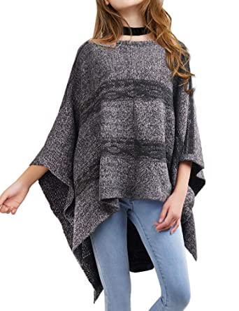 a0af3ff1cdd8 DELUXSEY Womens Ponchos and Wraps - Striped Pullover Poncho Sweaters ...