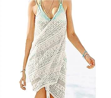 Mujeres Pareos Encaje de Punto Playa Protector Solar Vestido Traje De Baño Bikini Cubierta hasta Ropa