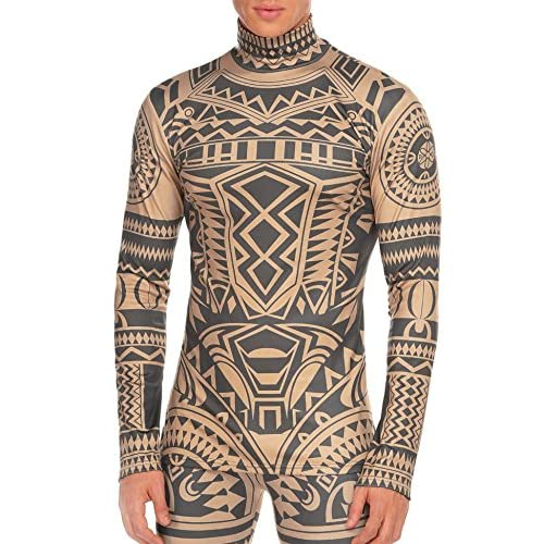 c902d9cfb9 COOFANDY Men s Tribal Tattoo Thermal Turtleneck Pullover Slim Fit Underwear  best