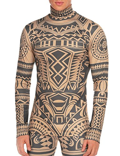 COOFANDY Men's African Tribal Tattoo Thermal Turtleneck Pullover Slim Fit Underwear by COOFANDY