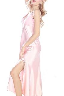 164d434406 iooho Women s Satin Nightgown Long Slip Sleeveless Sleepwear Night Dress  Sexy Night Wear for Women Black