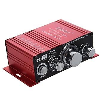 Amplificador - Kinter HiFi Amplificador de 2 canales, estereo, Amplificador paral coche / hogar