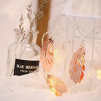 Nordic Rose Gold Feder Licht String Schlafzimmer Layout Mädchen