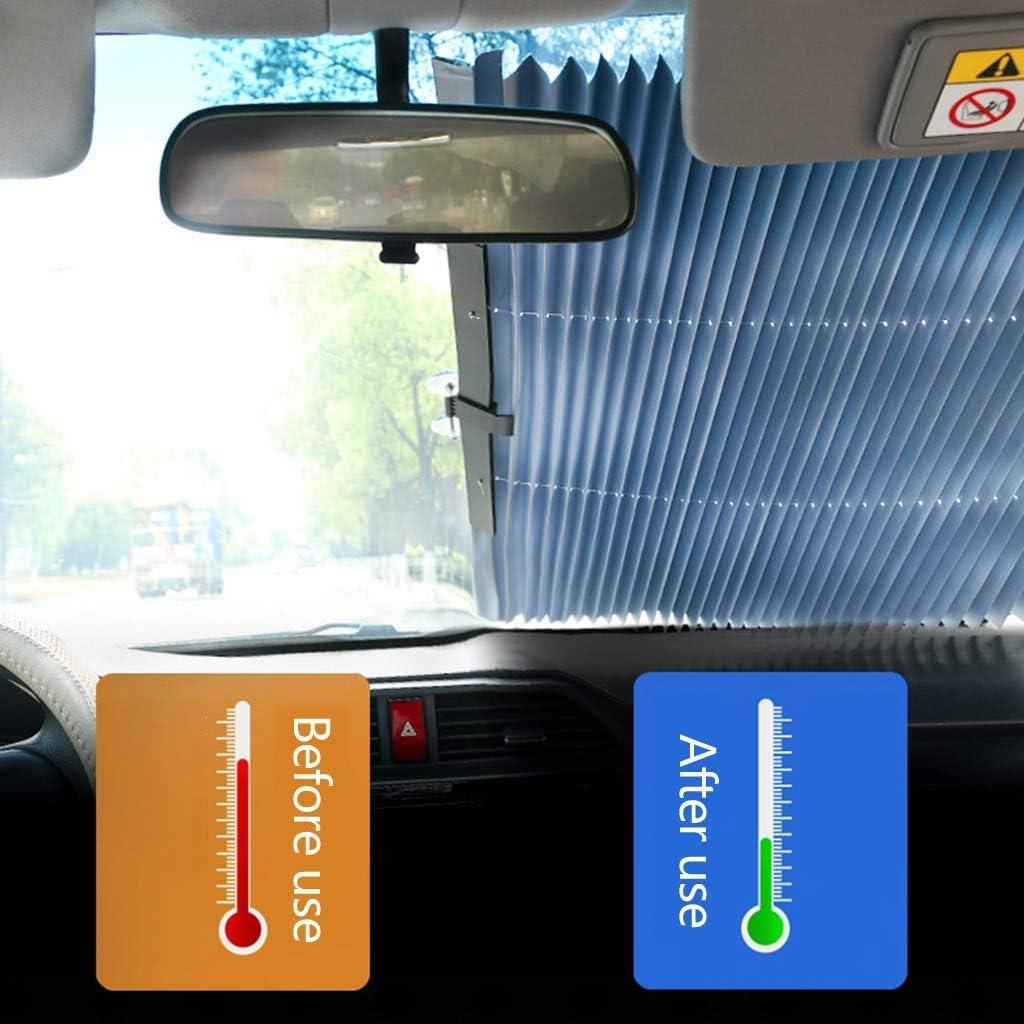 45cm Sonnenschutz Auto Teleskopisch Heckscheibe Und Frontscheibe Innen Sonnenschutz Aluminium Saugnapf Auto Uvschutz f/ür Kleine Autos SUV LKW