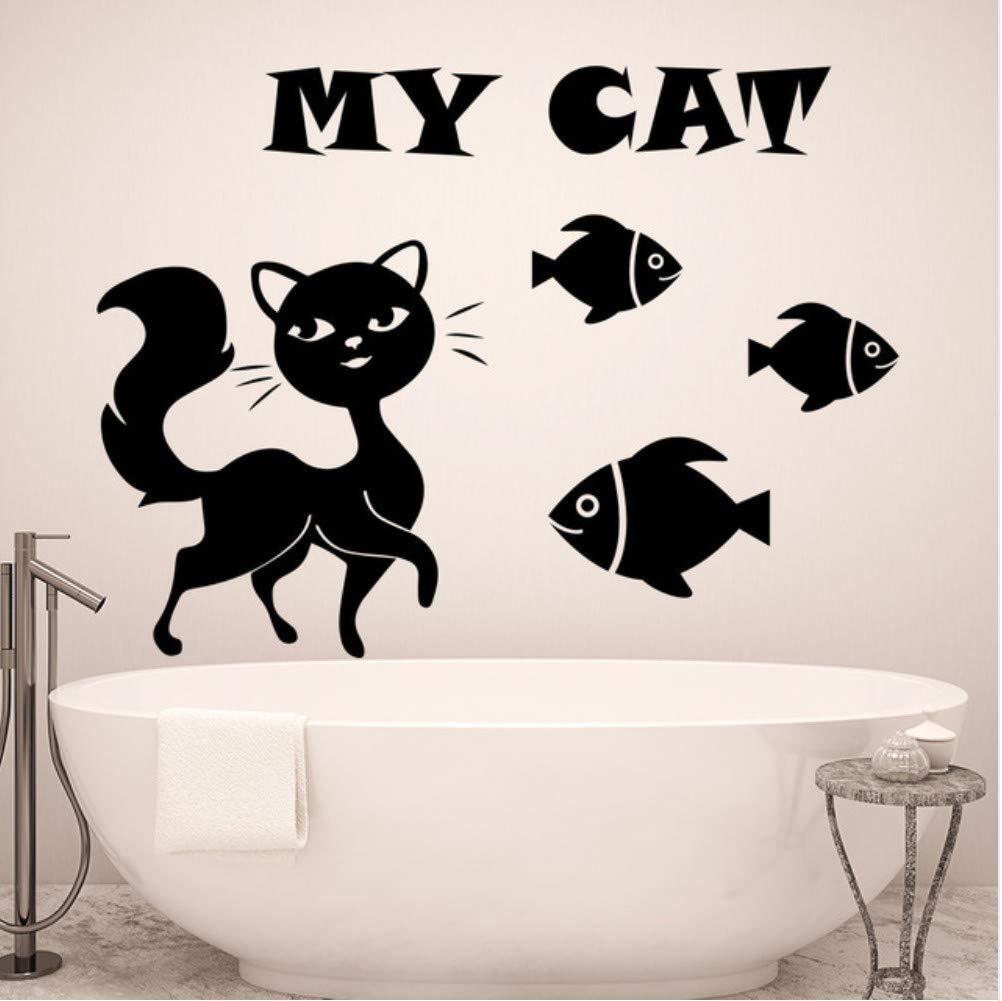 jecswolz My Cat Art Design Quotes Tatuajes De Pared con Siluetas ...