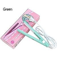 2 in 1 Mini Hair Straightener Ceramic Tourmaline Plate Beauty Flat Iron Heating Curler(4Colors)(Matcha green beauty plug)