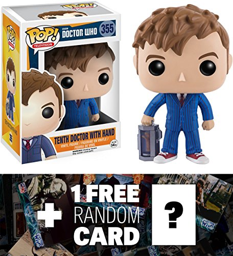 Tenth Doctor w/ Hand: Funko POP! x Doctor Who Vinyl Figure + 1 FREE Official Dr Who Trading Card Bundle (106801)