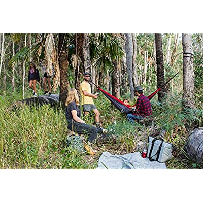 Sevengill Double Camping Hammock with 10 Loop Tree Straps, Aluminium Carabiners, Portable Backpacking Hiking Travel Indoor Outdoor Strong Comfortable Easy to Set up (Green, Blue): Sports & Outdoors