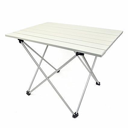 Mesa de Camping Plegable de Aluminio Ultraligero, Mesa portátil Enrollable con Bolsa para Llevar al