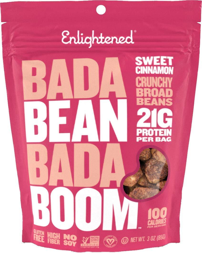 Enlightened Bada Bean Bada Boom Plant-based Protein, Gluten Free, Vegan, Non-GMO, Soy Free, Kosher, Roasted Broad Fava Bean Snacks, Sweet Cinnamon 3oz (Pack of 6) by Enlightened