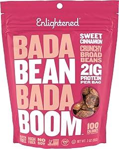 Bada Bean Bada Boom Plant-Based Protein, Gluten Free, Vegan, Crunchy Roasted Broad (Fava) Bean Snacks, 100 Calories per Serving, Sweet Cinnamon, 3 Ounce