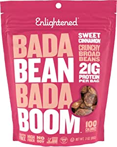 Enlightened Bada Bean Bada Boom Plant Protein Gluten Free Roasted Broad (Fava) Bean Snacks, Sweet Cinnamon, 3 Ounce (6 Count)