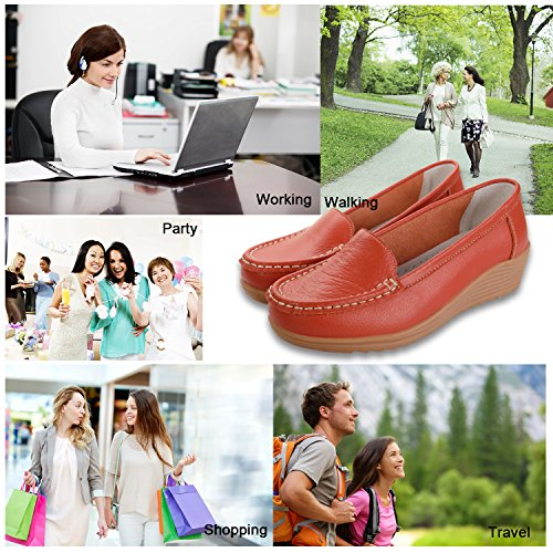 Orange Driving Casual Slip Leather On Women's Slippers Labato Flat Shoes Loafers 0nRvwq