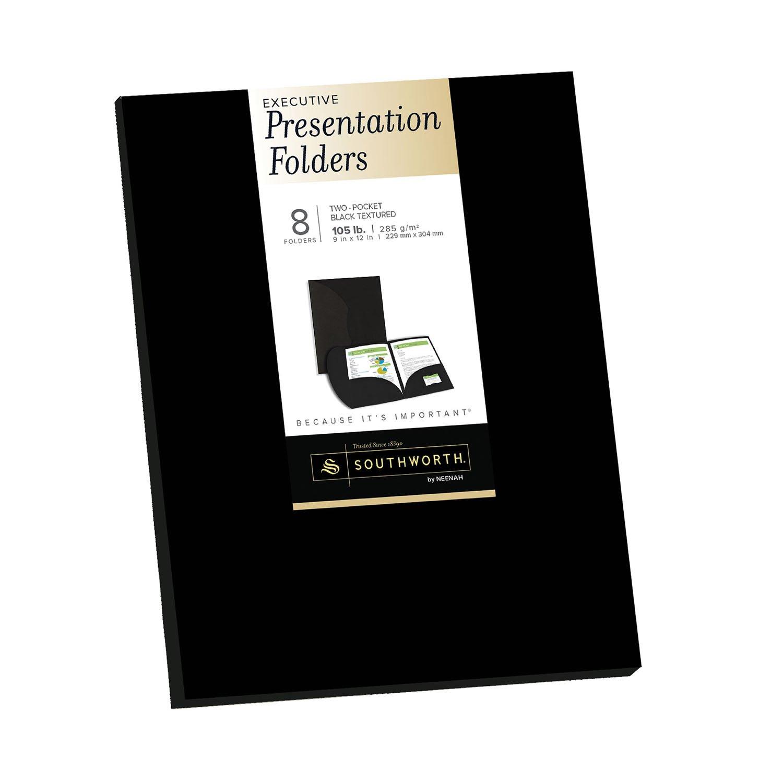 Southworth Resume Presentation Folders, 9'' x 12'', 105 lb, Two Pockets, Black, Felt Finish, Cardstock, 8 Folders (98870) by Southworth