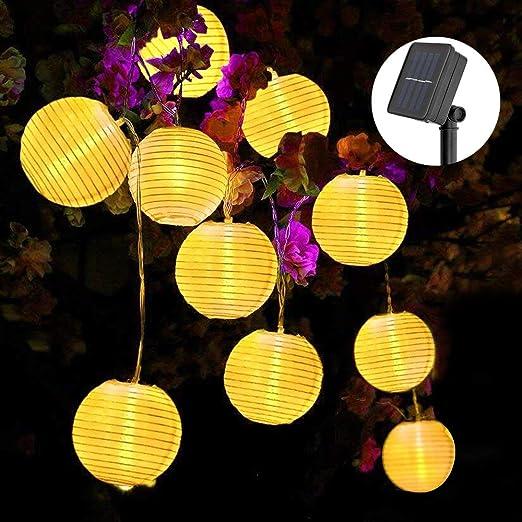 Solar Lichterkette Lampions, ECOWHO 6.5M 30 LEDs Lampions Laterne Lichterkette, Wasserdicht Solar Lichterkette aussen für Par