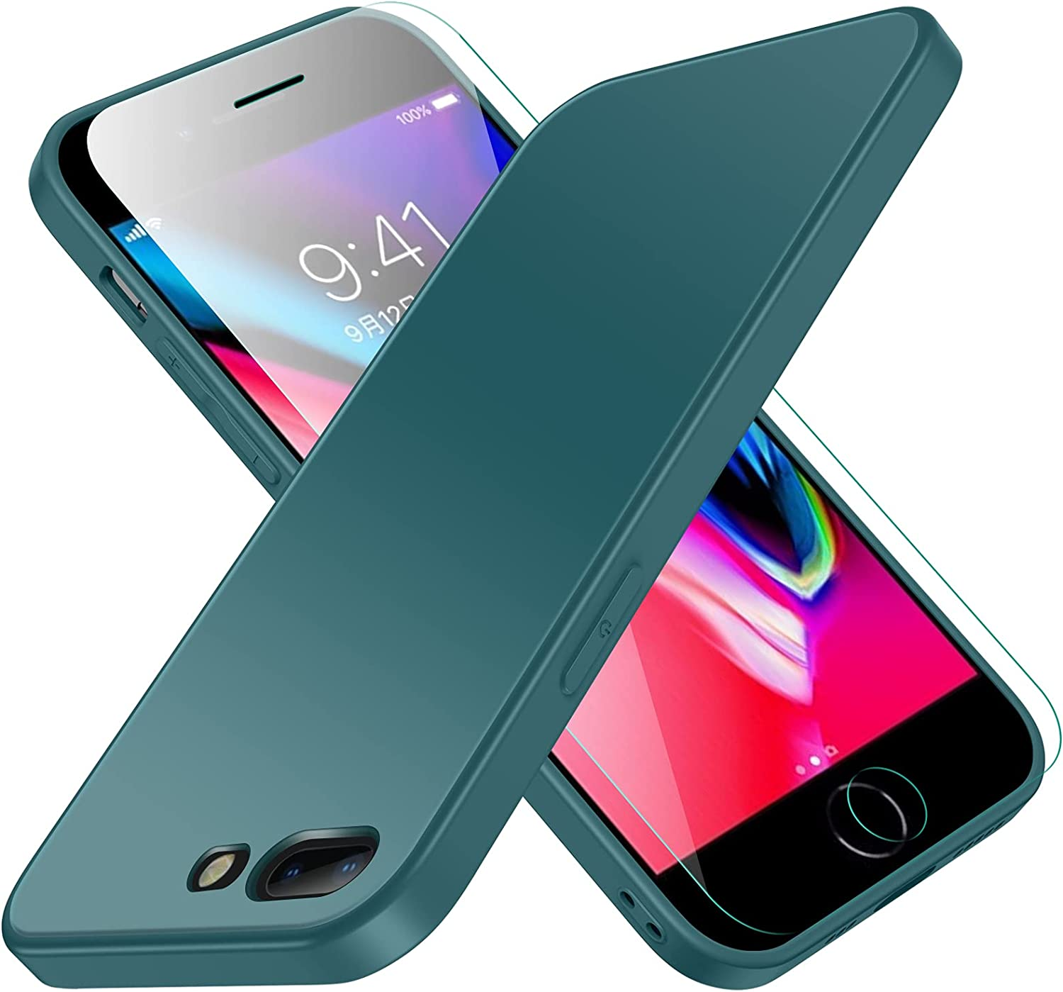 Compatible with iPhone 8 Plus Case, Jonwelsy Luxury Soft Liquid Silicone Shockproof Protection Phone Case + Frosted Tempered Glass Back Cover for iPhone 7+ / 8+ (5.5 inch) (Midnight Green)