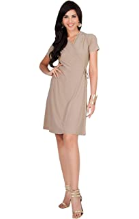 d17469720fd KOH KOH Womens Cute Casual V-Neck Wrap Short Sleeve Work Knee Length Midi  Dress