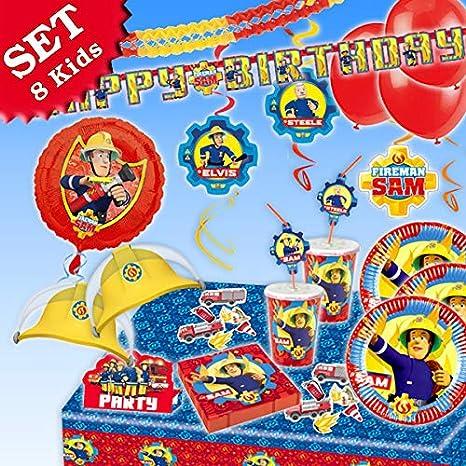 Bombero Sam Cumpleaños Decoración de cumpleaños, 87 piezas para niños (Niño y Niña y temática de bomberos de fiesta para 8 Kids: Amazon.es: Juguetes y ...