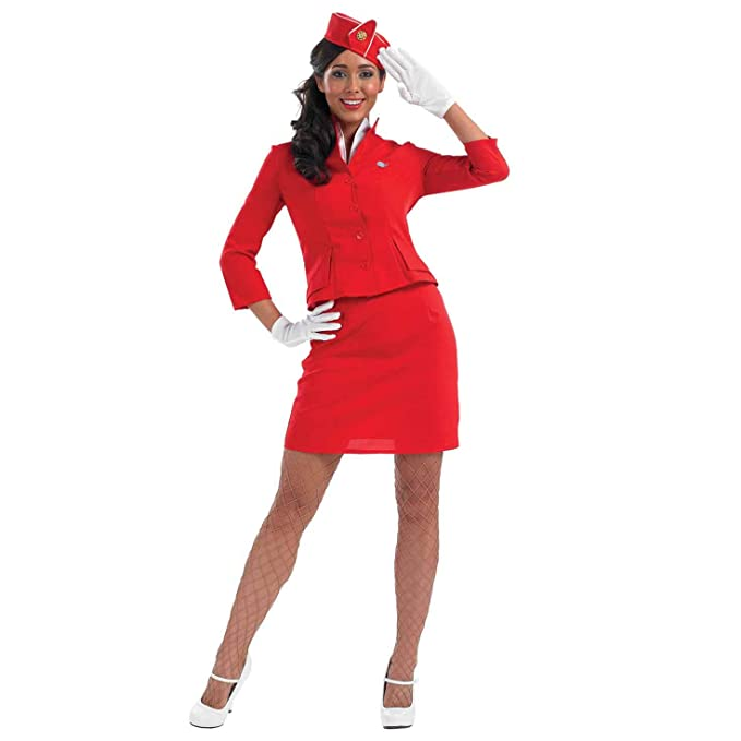 60s Costumes: Hippie, Go Go Dancer, Flower Child, Mod Style Womens Cabin Crew Costume Adults Bright Red Air Hostess Stewardess Uniform $27.99 AT vintagedancer.com