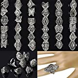 30pcs Jewelry Lots Mixed Style Tibet Silver Vintage Rings (Silver)