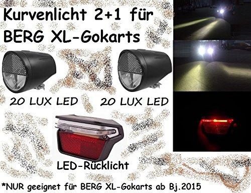 Gokart LED Kurvenlicht Scheinwerfer 2xFront 1xRear PitchBlack DESIGN