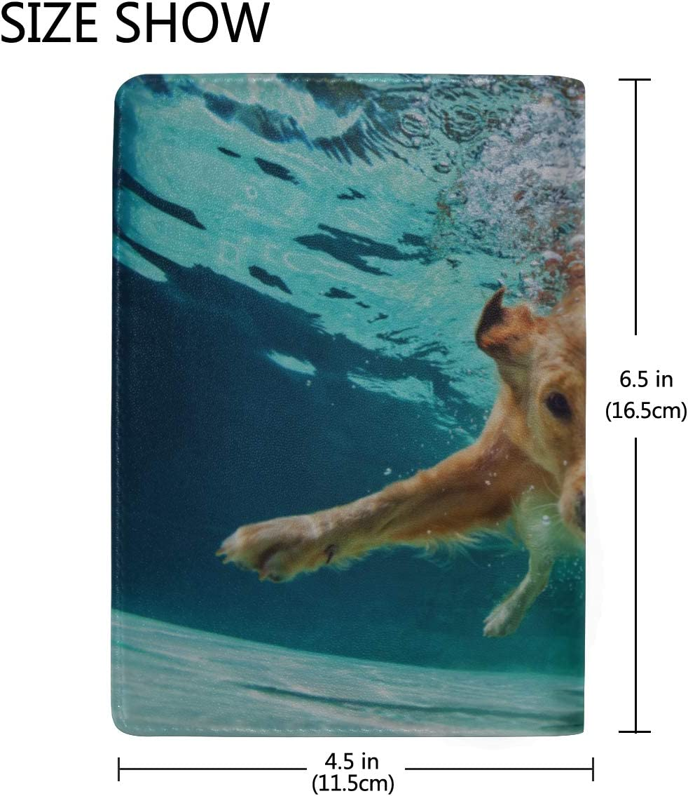 Interesting Underwater Swimming Dogs Blocking Print Passport Holder Cover Case Travel Luggage Passport Wallet Card Holder Made With Leather For Men Women Kids Family
