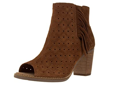 c5b3fd29dfd TOMS Women s Majorca Peep Toe Bootie Cinnamon Suede Perforated Fringe 5 ...