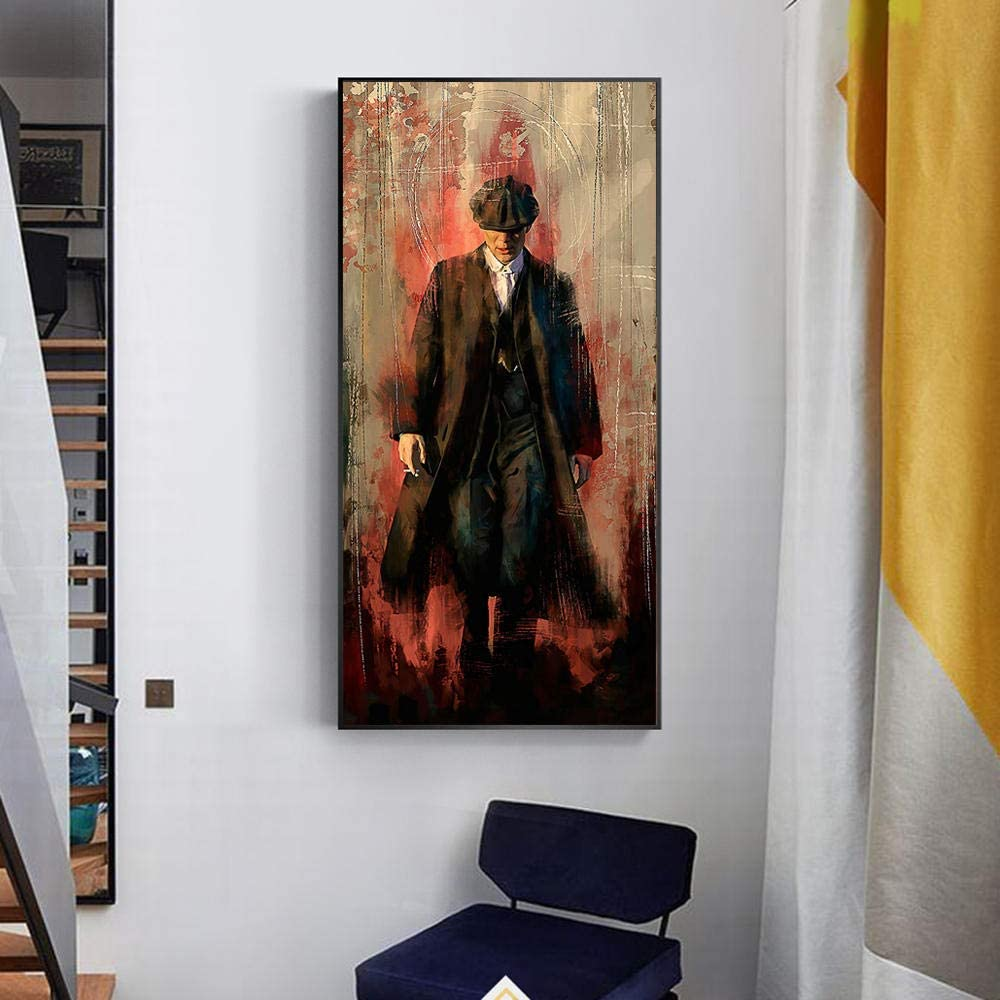 WSHIYI Peaky Blinders Graffiti Art Paintings Print Canvas Posters and Prints Portrait Tommy Shelby Art Pictures Decoración para el hogar / 60x120cm (23.6x47.2 Pulgadas) Sin Marco