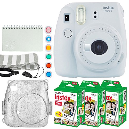 Fujifilm Instax Mini 9 Instant Camera (Smokey White) + Fujifilm Instax Mini Twin Pack Instant Film (60 Exposures) + Glitter Case + Scrapbook Album + 6 Colored Lens Filters + Neck Strap – Full Bundle ()