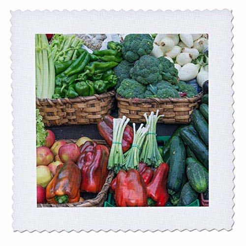 3dRose Danita Delimont - Markets - Spain, San Sebastian, Vegetables for Sale at Farmers Market - 18x18 inch quilt square (qs_257874_7) by 3dRose