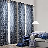 Cheap Top Choice Linen Navy Printing Window Treatment Curtains 2 panels With Gromet (52×84 inch)