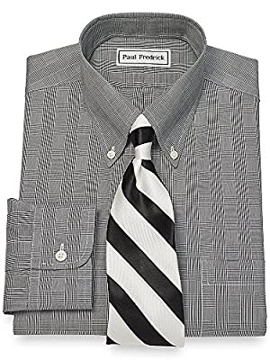 Paul Fredrick Men's Non-Iron Cotton Glen Plaid Dress Shirt