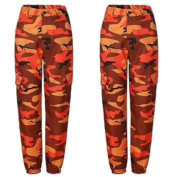 NSKZ Pantalones De Mujer Pantalones De Camuflaje Naranja ...