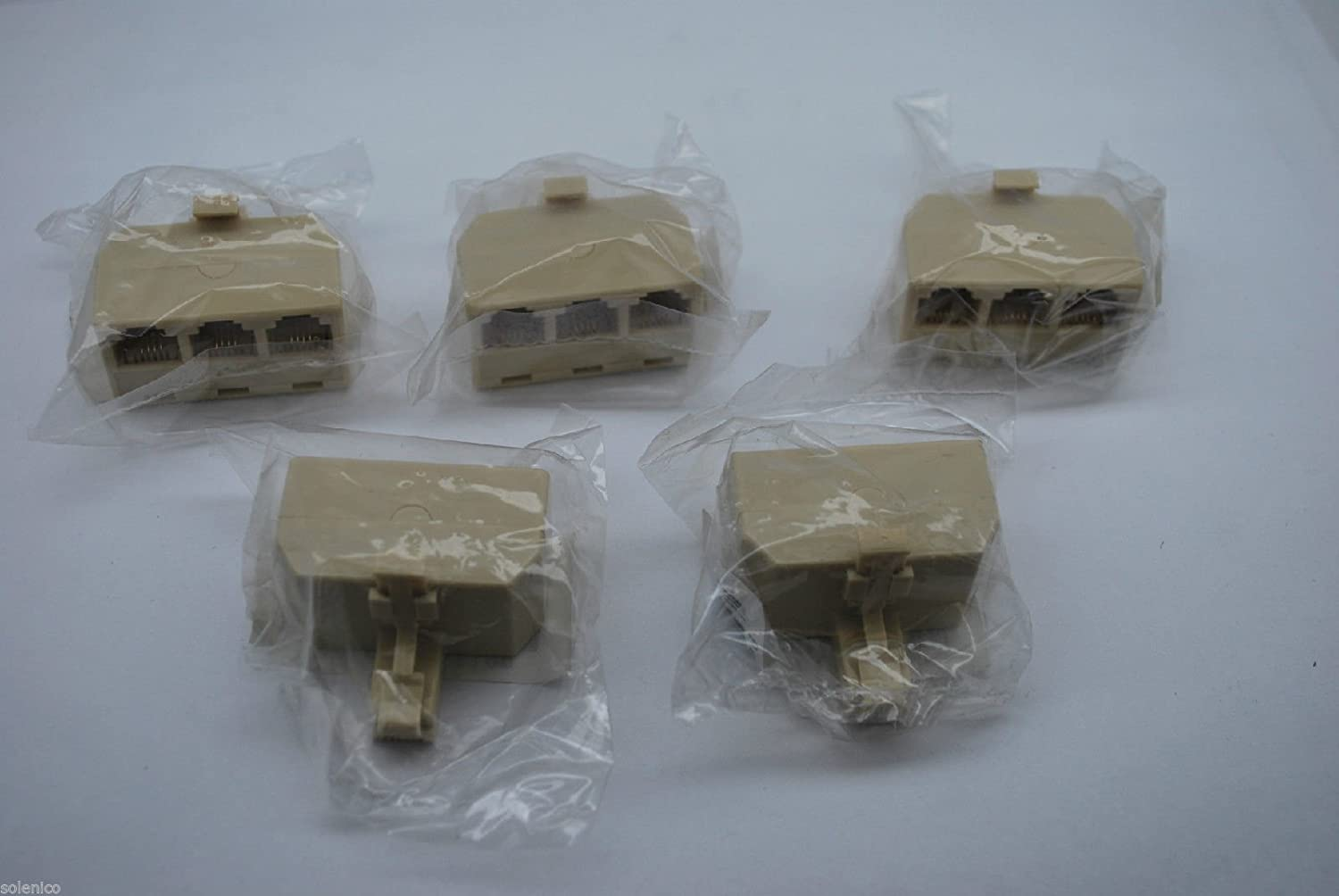 FYL LOT OF 5 TELEPHONE 3 WAY ADAPTER OR JACK TRIPLE ADAPTER RJ11 IVORY