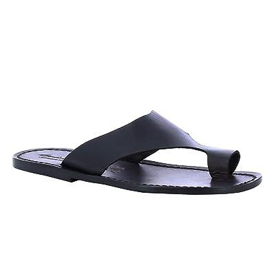 la vendita di scarpe molti stili sporco a buon mercato Ciabatte Infradito Uomo in Pelle Nero Fatte a Mano: Amazon.it ...