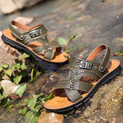Sommer Das neue Echtleder Sandalen Männer Trend Schuhe Männer Lässige Schuhe Jugend Rutschfest Dualer Gebrauch Strandschuhe ,Grün,US=7?UK=6.5,EU=40?CN=40