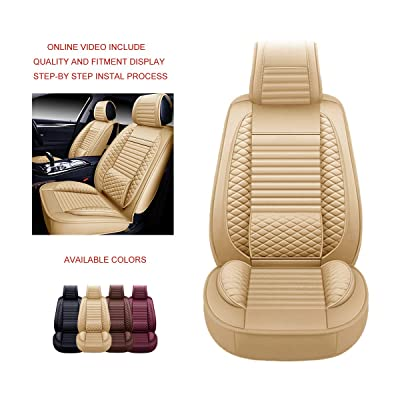 OASIS AUTO OS-002 Leather Universal Car Seat Covers Automotive Vehicle Cushion for Sedan, SUV and Small Pick-Up Truck Compatible with Toyota-Nissan-Honda-Jeep-Subaru (Front, TAN): Automotive