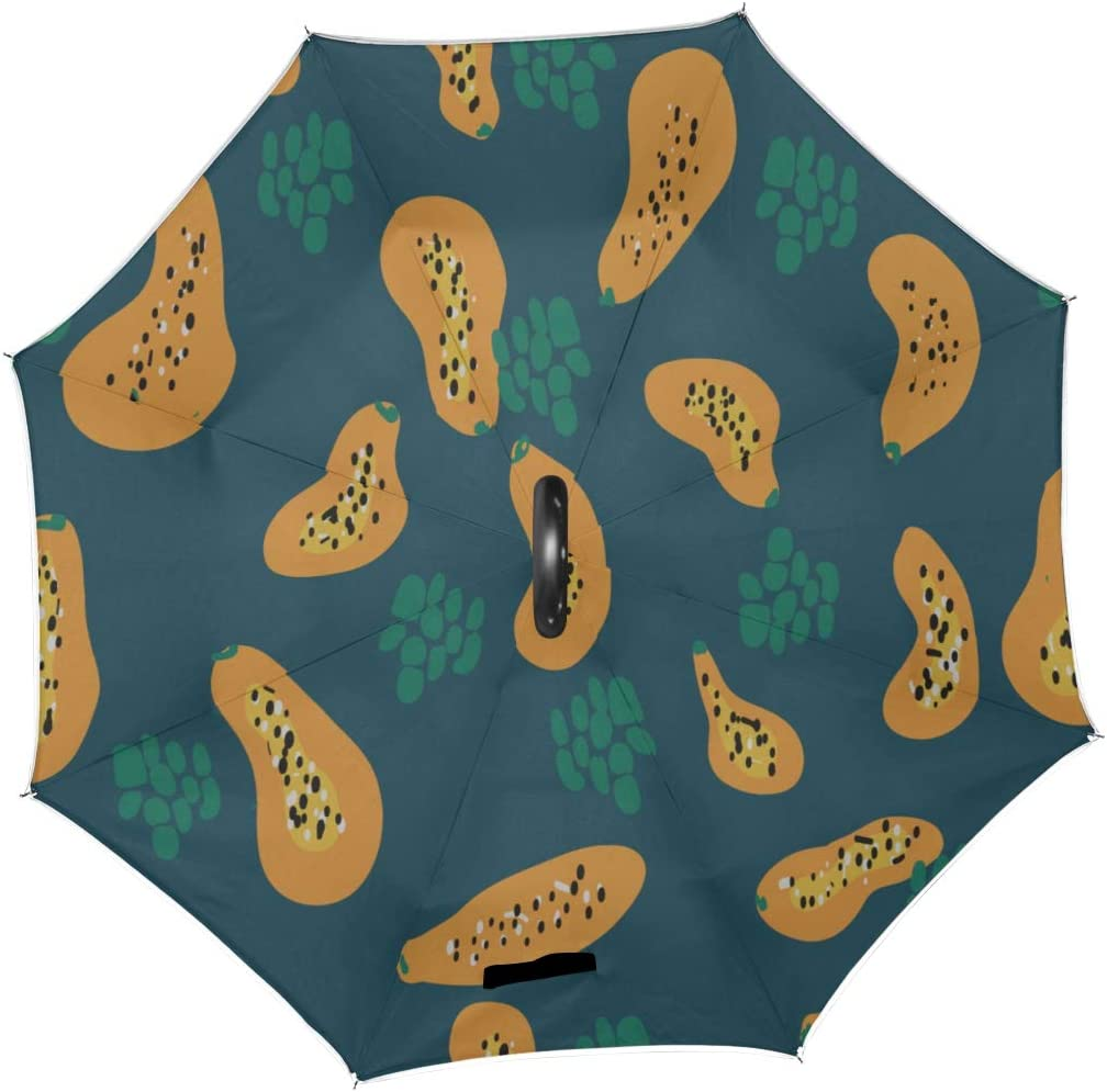 Double Layer Inverted Inverted Umbrella Is Light And Sturdy Pattern Papaya Reverse Umbrella And Windproof Umbrella Edge Night Reflection
