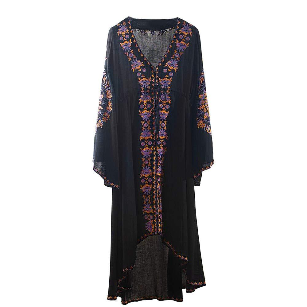 Women's Bohemian V-Neck Summer Blouse Loose Flower Embroidery Cardigan Chiffon Beachwear Dress Black