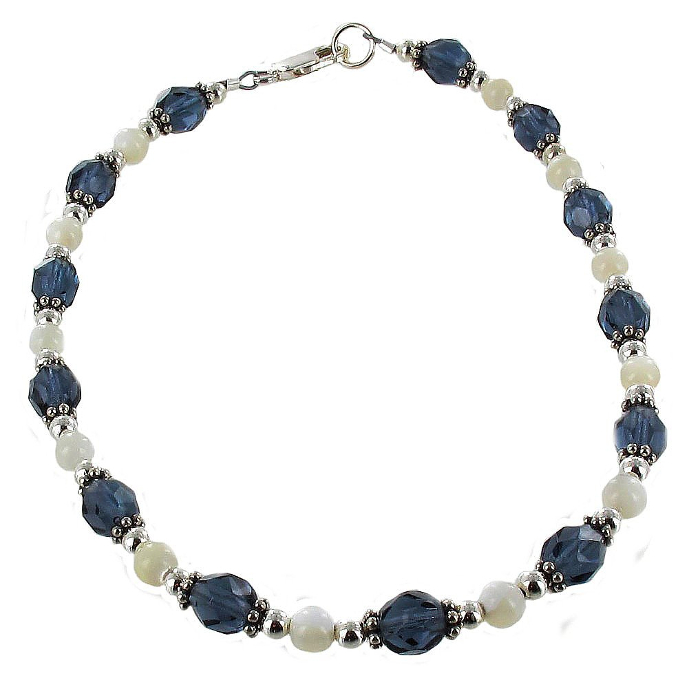 Timeless-Treasures Blue Czech Fire Polished Glass, Mother of Pearl & Sterling Ladies Beaded Anklet with Daisies - 12''
