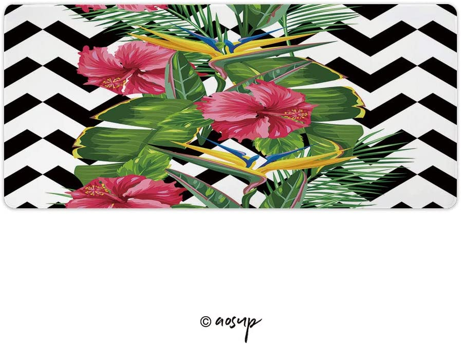 Seamless Pattern with Tropical Leaves and Flowers Custom Design Stitched Edges Waterproof Non-Slip Rubber Base Mousepad 23.6 x 11.8 inch NO-78203 Homenon Professional Gaming Mouse Pad