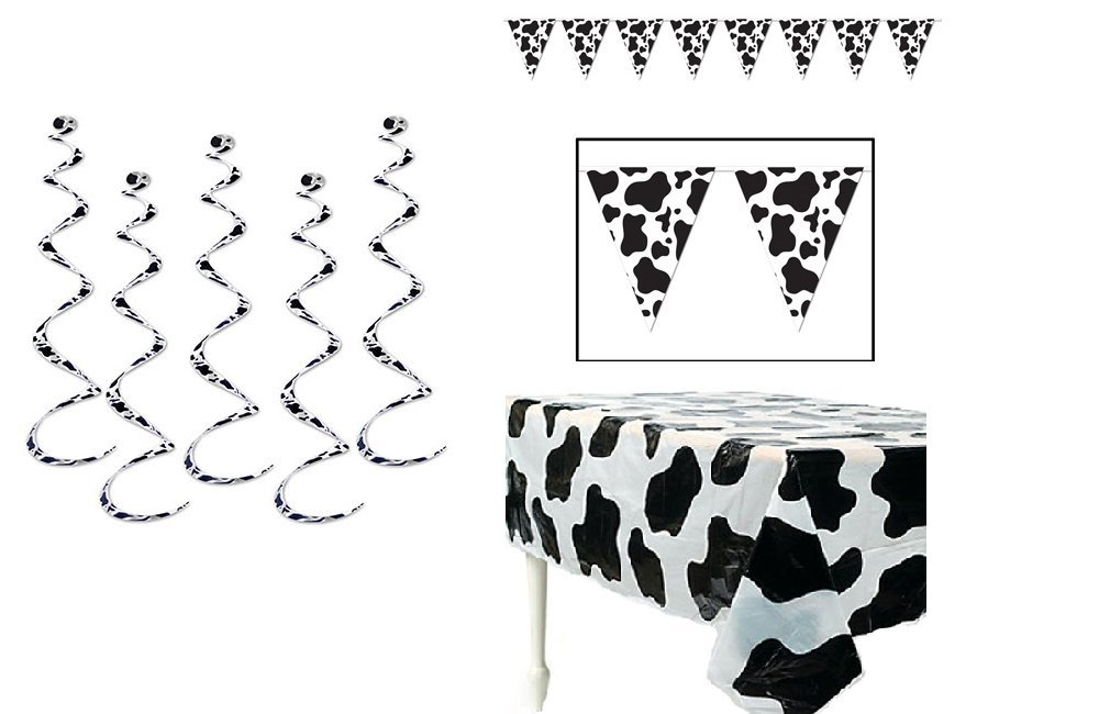 COW Spots PARTY Decorations - Plastic TABLECLOTH (54'' x 72'') - PENNANTS Banner (11'' x 12') - Six (6) DANGLING Whirls SWIRLS (24'') BARNYARD Theme FARM Animal DECOR